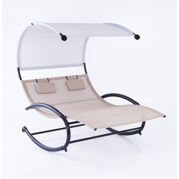 Belleze Double Chaise Rocker Patio Furniture Chair Canopy Pool Swing Rocker Steel, Beige
