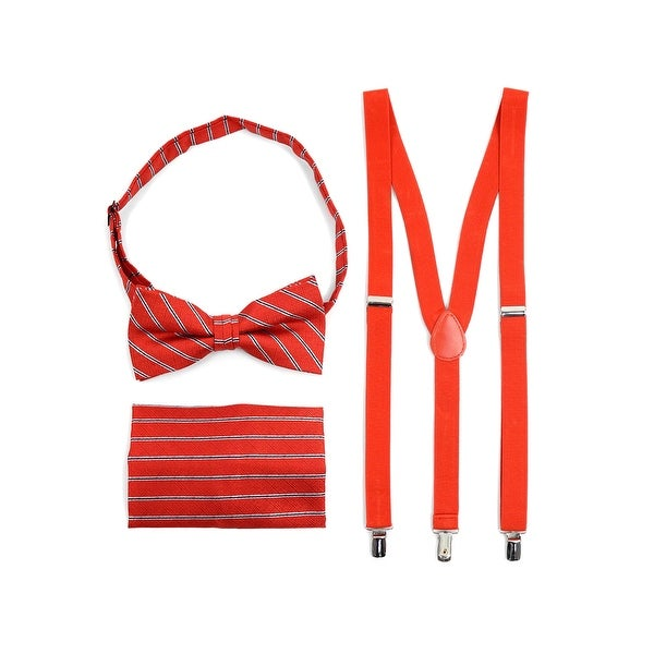 3pc Men's Red Banded Suspenders, Stripes Bow Tie and Hanky Sets - One Size Fits most