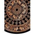 Handmade 100% Cotton Mandala Floral Tie Dye Elephant Print Tablecloth 72 Inch Round - Black & White and Black & Brown - Thumbnail 0