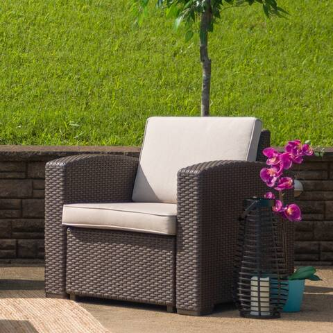Chocolate Brown Faux Rattan Chair with All-Weather Cushion