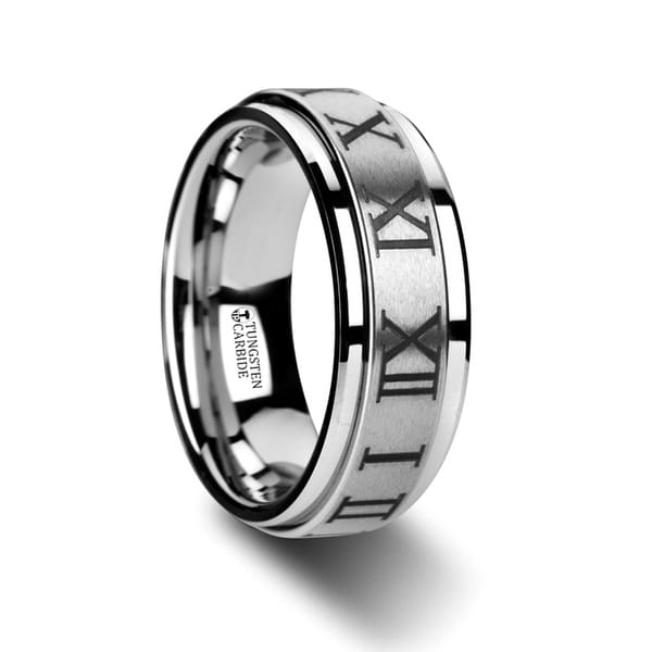 Imperius Raised Center Brush Finish Spinner Ring With Roman Numerals