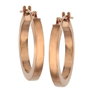 Just Gold Flat Hoop Earrings in 14K Rose Gold - Pink
