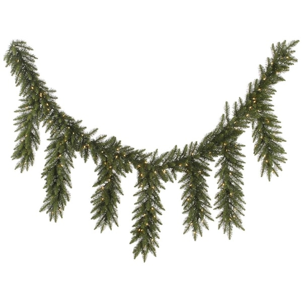 "9' x 12"" Pre-Lit Camdon Fir Artificial Icicle Christmas Garland - Clear Dura-Lit Lights"