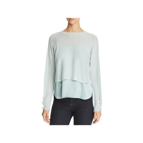 Elie Tahari Womens Dilla Pullover Sweater Cashmere Embellished - Drizzle/Pistachio