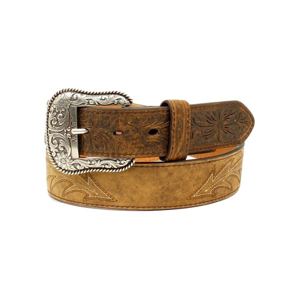 Ariat Western Belt Mens Scroll Stitching Roped Medium Brown