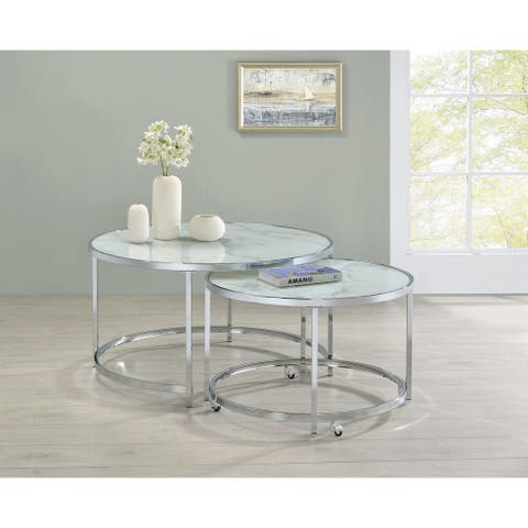 White and Chrome 2-piece Round Nesting Table