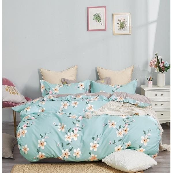 Brigitte Blue Floral 100% Cotton Reversible Comforter Set. Opens flyout.