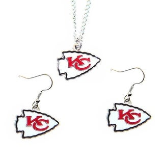 Kansas City Chiefs Necklace and Dangle Earings Charm Set - NFL