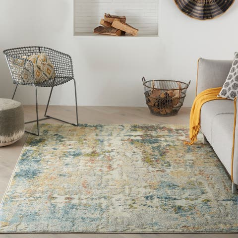 Nourison Trance Contemporary Modern Abstract Ivory Multicolor Area Rug