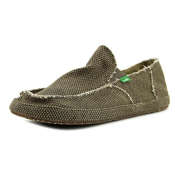 Sanuk Rounder Men Moc Toe Canvas Brown Loafer