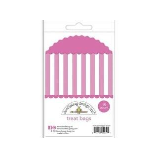 Doodlebug Kraft/Color Treat Bags Stripes Bubblegum