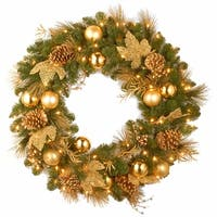 Pre-Lit Pine Cone and Ball Ornament Artificial Christmas Wreath - 36-Inch, Clear Lights - green