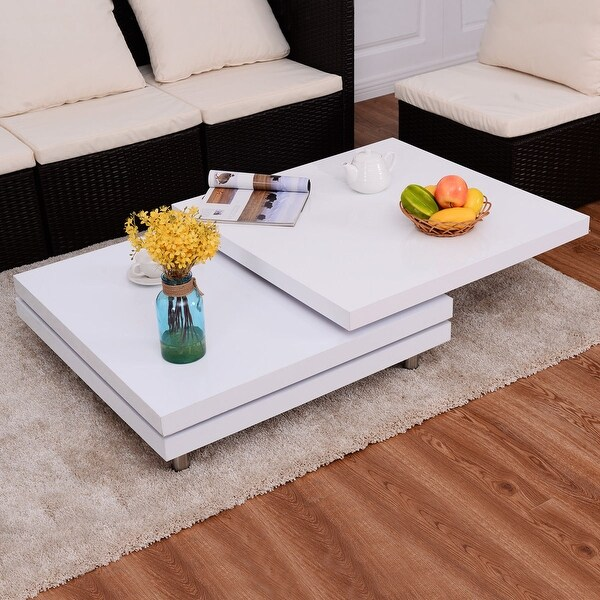 Oval Rotating Coffee Table: Shop Costway Square Rotating Coffee Table W/3 Layers 360