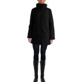 Jones New York Womens Quilted Hooded Coat
