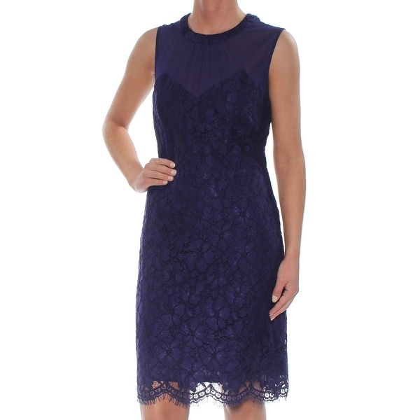 ANNE KLEIN Womens Purple Lace Zippered Sweetheart Sleeveless Illusion Neckline Above The Knee Sheath Cocktail Dress Size: 2