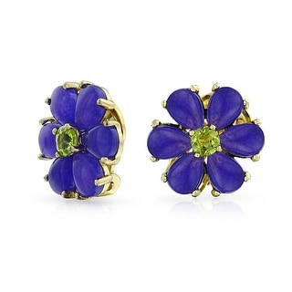 Bling Jewelry Silver Flower Jade Dyed Peridot Clip On Earrings 925 Silver Clip On Alloy - Purple