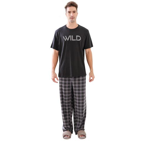 Richie House Men's Soft & Warm Lightweight Fleece Pajama Set