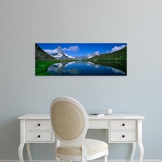 Easy Art Prints Panoramic Images's 'Reflection of mountains in water, Riffelsee, Matterhorn, Switzerland' Canvas Art