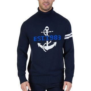 Nautica NEW Navy Blue Mens Size XL Anchor Knit Turtleneck Sweater