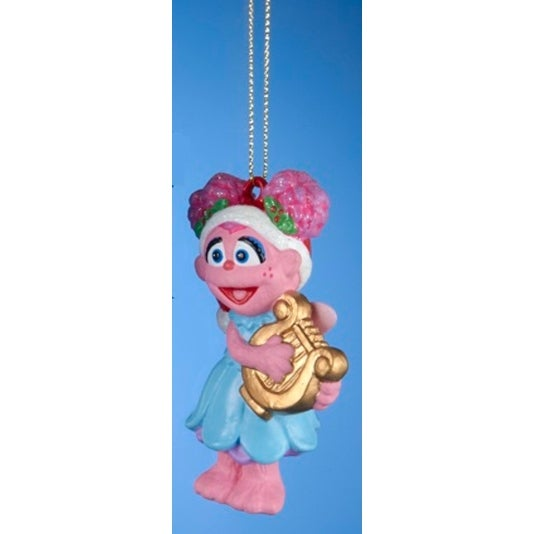 "3.5"" Sesame Street Cookie Abby Playing the Mandolin Band Christmas Ornament"
