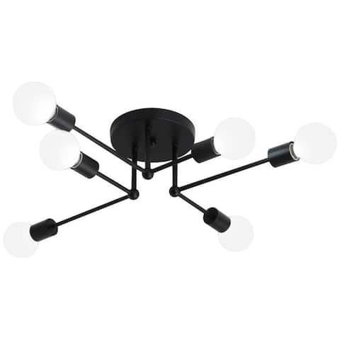 6 light art kitchen semi flush mount ceiling light vintage black ceiling lamp