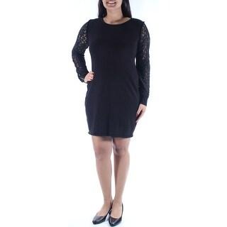 Womens Black Long Sleeve Above The Knee Sheath Evening Dress Size: L
