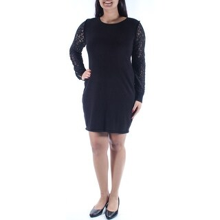 Womens Black Long Sleeve Above The Knee Sheath Evening Dress Size: S