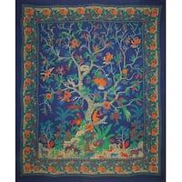 Handmade Tree of Life Cotton Tapestry Tablecloth Bedspread Bed Sheet Beach Sheet Dorm Decor Full 88x104 Navy Blue