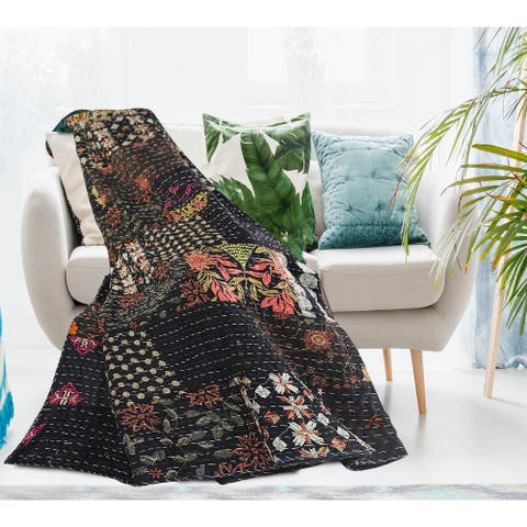 "Dark Night Kantha Throw Blanket 50"" x 70"""