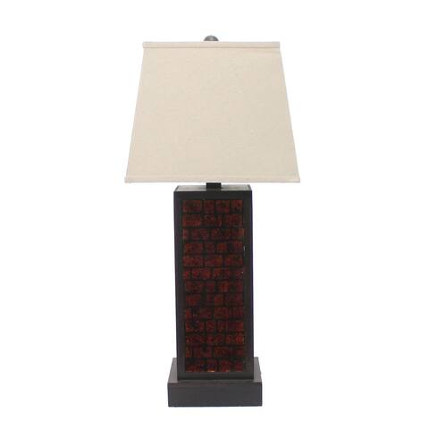 Rectangular Metal Frame Table Lamp with Brick Pattern, Beige and Brown