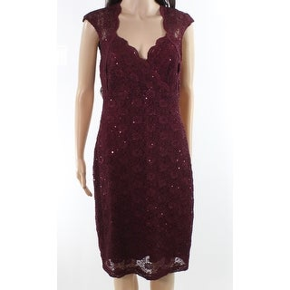 Connected Apparel NEW Bordeaux Red Womens Size 8 Lace Sheath Dress