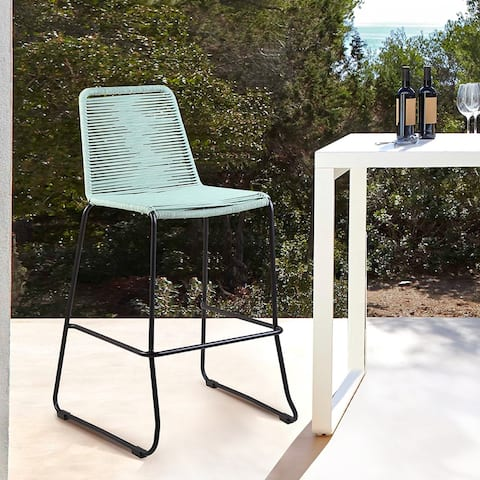 """Shasta Outdoor Metal and Rope 26"""" Counter Height Bar Stool"""