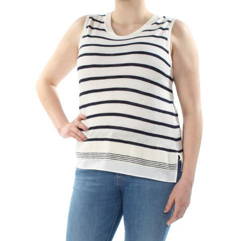 TOMMY HILFIGER Womens Ivory Striped Sleeveless Scoop Neck Sweater Size: XL