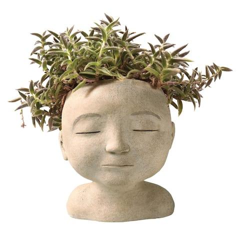 "Art & Artifact Head of a Man Indoor/Outdoor Planter - Handpainted Zen Buddha Face of Resin - Plants Look Like Hair, 9"" Tall"
