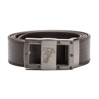 Versace Collection Men's Medusa Head Saffiano Leather Belt Brown Steel - L