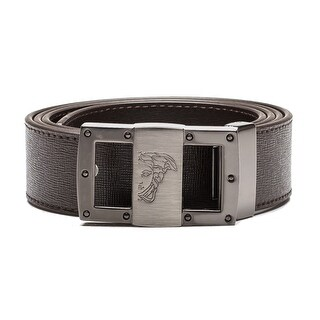Versace Collection Men's Medusa Steel Buckle Saffiano Leather Belt Brown (5 options available)