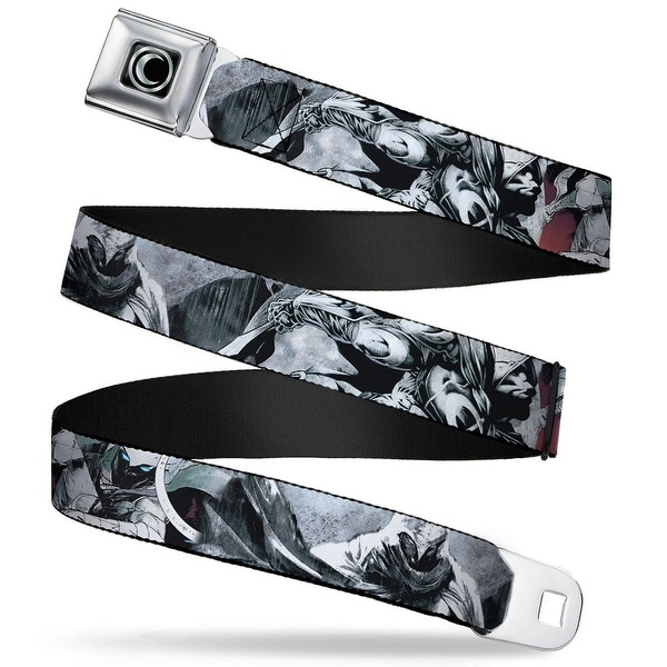 Marvel Universe Moon Knight Logo Full Color Black Silver Fade Moon Knight Seatbelt Belt