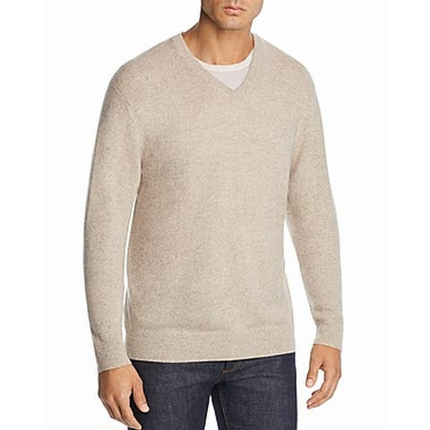 The Men's Store Mens Sweater Beige Size 2XL V-Neck Cashmere Ribbed Trim