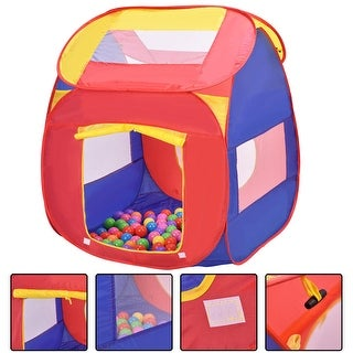 Costway Portable Kid Baby Play House Indoor Outdoor Toy Tent Game Playhut With 100 Balls - Pink