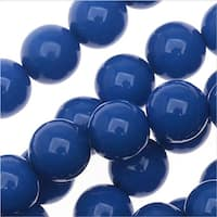 Czech Glass Pastella Collection, Smooth Round Druk Beads 8mm, 1 Strand, Nautical Blue