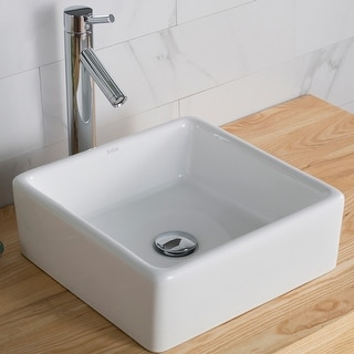 Link to Kraus Elavo 15 inch Square Porcelain Ceramic Vessel Bathroom Sink Similar Items in Sinks