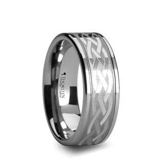 PAETUS Flat Dual Offset Grooved Tungsten Ring with Celtic Design - 10 mm