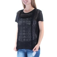JOHN PAUL RICHARD Womens Black Textured, Eyelet Short Sleeve Jewel Neck Tunic Top  Size: S