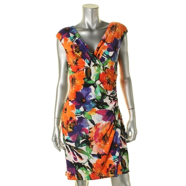 Lauren Ralph Lauren Womens Petites Cocktail Dress Floral Print Surplice