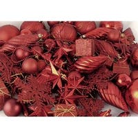 125-Piece Club Pack Shatterproof Candy Apple Red Christmas Ornaments
