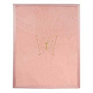 Lambs & Ivy Coral Metallic Embroidered Blanket - Butterfly