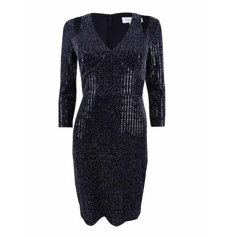 Calvin Klein Women's Cold-Shoulder Metallic Jersey Sheath Dress - Black Silver