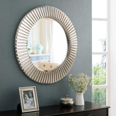 "Carson Carrington Arslev Silvertone Accent Wall Mirror - 34"" Dia."