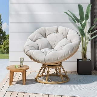 Link to Maries Outdoor Papasan Swivel Chair with Cushion by Christopher Knight Home Similar Items in Accent Chairs