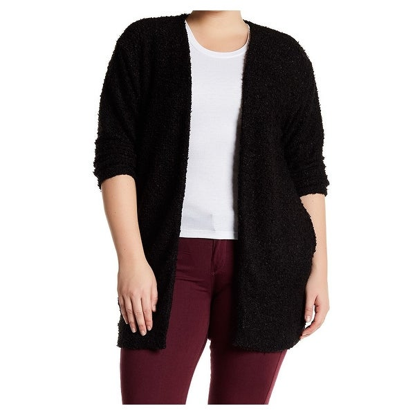 14th & Union NEW Black Womens Size 3X Plus Open-Front Cardigan ...